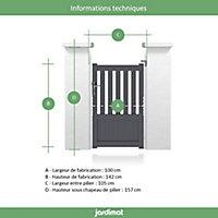 Portillon Jardimat aluminium Garonne gris 7016 - 100 x h.140 cm