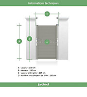 Portillon Jardimat aluminium Neva 3 gris 7039 - 100 x h.180 cm