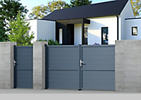 Portillon Jardimat aluminium Perth gris anthracite - 100 x h.170 cm
