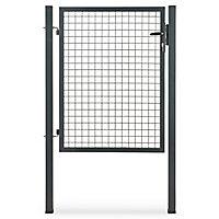 Portillon pour clôture grillagée à poteaux carrés Blooma gris 100 x h.120 cm