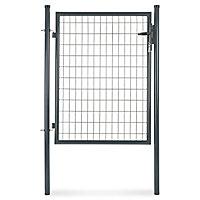 Portillon pour clôture grillagée à poteaux ronds gris 100 x h.120 cm