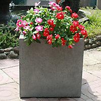 Pot carré ciment Blooma Hoa gris clair 30 x 30 x h.30 cm