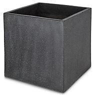 Pot carré ciment Blooma Hoa gris foncé 50 x 50 x h.50 cm