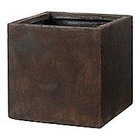 Pot carré fibre Deroma Rust rouille 50 x 50 x h.50 cm
