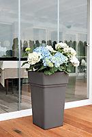 Pot carré plastique Blooma Nurgul gris foncé 38 x 38 x h.65 cm