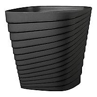 Pot carré plastique Deroma Slinky anthracite 30 x 30 x h.30 cm