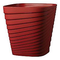 Pot carré plastique Deroma Slinky rouge griotte 30 x 30 x h.30 cm