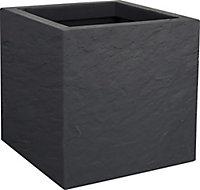 Pot carré plastique EDA Durdica Up anthracite 29,5 x 29,5 x h.29,5 cm