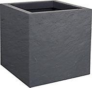 Pot carré plastique EDA Durdica Up gris galet 29,5 x 29,5 x h.29,5 cm