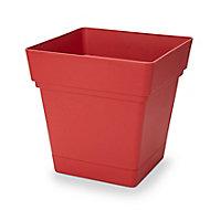 Pot carré plastique à réserve d'eau Blooma Nurgul rouge 38 x 38 x h.39 cm