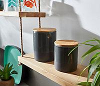 Pot en céramique anthracite avec couvercle en bambou Norasia Lucie 0,95 L