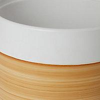 Pot rond céramique décor bois ø24cm