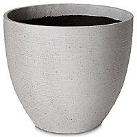 Pot rond plastique Blooma Momoka gris lisere ø40 x h.30 cm