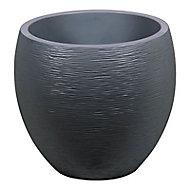 Pot rond polypropylène Eda Egg graphit anthracite Ø50 x h.45 cm