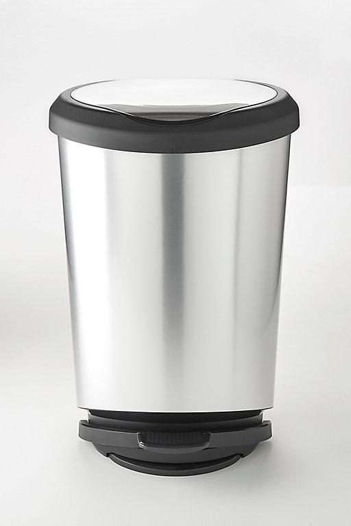 poubelle coloris gris 42 l kis tondo step on  castorama