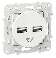 Prise double USB Schneider electric Odace Blanc