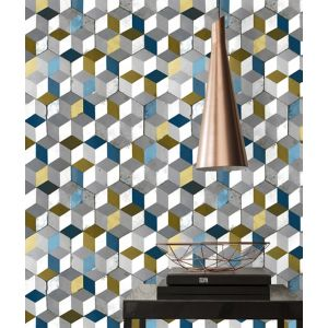 Papier Peint Vinyle Sur Intissé Cube Jaune Bleu Castorama