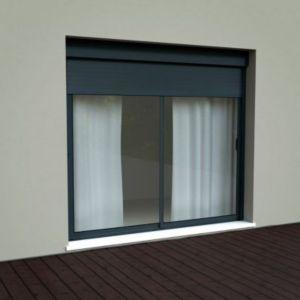 baie coulissante alu volet roulant integr 240cm grise castorama. Black Bedroom Furniture Sets. Home Design Ideas