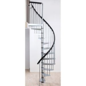escalier h lico dal m tal industria galva 125 cm 11 marches acier galvanis brut castorama. Black Bedroom Furniture Sets. Home Design Ideas