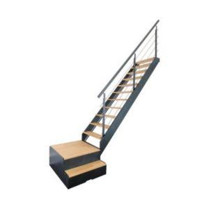 escalier 1 4 tournant droit gauche avec rangement m tal bois spark led 13 marches ch ne castorama. Black Bedroom Furniture Sets. Home Design Ideas