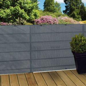 Ecran tressé polyester BLOOMA gris 3 x h.1 m   Castorama