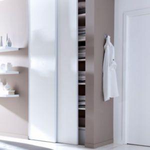 Portes De Placard Coulissantes Blanc Veiné X Cm Castorama - Kit porte coulissante placard