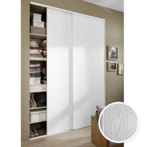 Portes De Placard Blanc Veiné X Cm Castorama - Porte placard coulissante avec serrure electrique