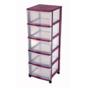 tour de rangement 5 tiroirs en plastique wave coloris violet castorama. Black Bedroom Furniture Sets. Home Design Ideas