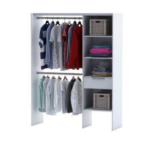 dressing tout en un coloris blanc compoz castorama. Black Bedroom Furniture Sets. Home Design Ideas