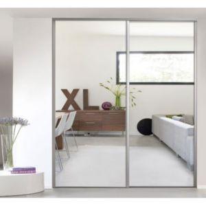 Porte De Placard Coulissante Miroir Argent FORM Valla X - Porte placard coulissante de plus prix porte pvc
