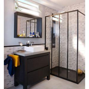 Ensemble de salle de bains Harmon 90 cm meuble sous-vasque noir + plan  béton | Castorama