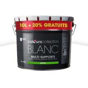 peinture multi supports colours collectin blanc satin 10l 20 gratuit castorama. Black Bedroom Furniture Sets. Home Design Ideas