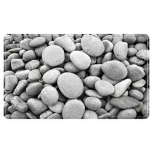 Tapis de bain antidérapant gris 52 x 52 cm Galets | Castorama