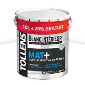 Peinture murs, plafonds et boiseries TOLLENS blanc mat 10L + 20 ...