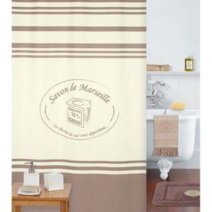 Rideau de douche en textile marron L.180 x H.200 cm Mosaïque | Castorama