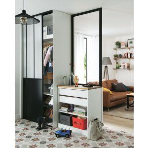 Lot de 2 portes de placard coulissantes atelier 120 x 250 cm castorama - Porte de placard style industriel ...