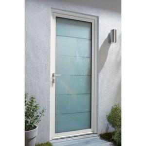 Porte D Entree Aluminium Alana Blanc 90 X H 215 Cm Poussant Gauche