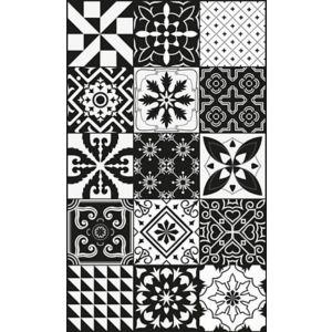 Tapis Vinyle Carreaux De Ciment Noir Et Blanc 49 5 X 83 Cm Castorama