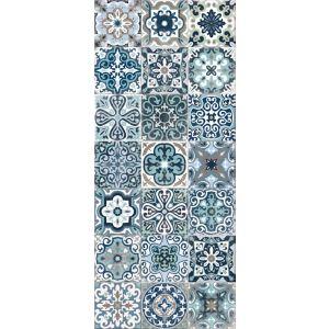 Tapis Vinyle Carreaux De Ciment Bleu 49 5 X 116 Cm Castorama