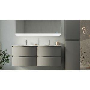 Ensemble de salle de bains Vague taupe plan vasque en résine 138 cm ...