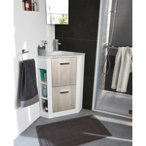 Meuble de salle de bains angle Waneta bois | Castorama