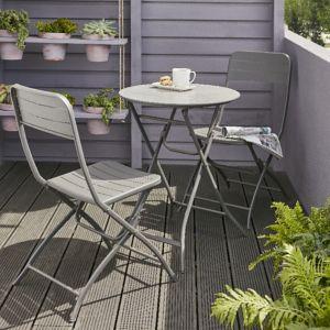 Lot table de jardin métal ronde Blooma Holi + 2 chaises de jardin ...