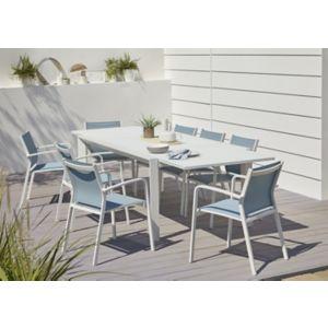 Lot table de jardin aluminium et verre Blooma Bacopia + 6 fauteuils ...