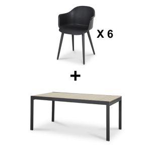 Lot table de jardin aluminium Blooma Morlaix + 6 fauteuils de jardin    Castorama