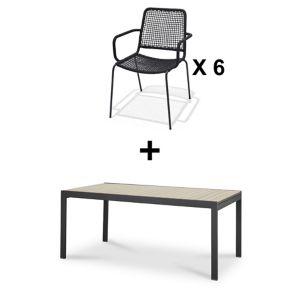 Lot table de jardin aluminium Blooma Morlaix + 6 chaises de jardin Oberon |  Castorama
