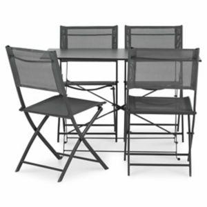 Lot table de jardin Saba anthracite pliante + 4 chaises de jardin    Castorama