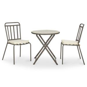 Lot table de jardin métal et marbre ronde Sofia + 2 chaises de jardin Sofia  + 2 galettes de chaise Sofia | Castorama