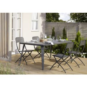 table de jardin m tal rectangulaire blooma katalla grise 162 x 82 cm castorama. Black Bedroom Furniture Sets. Home Design Ideas