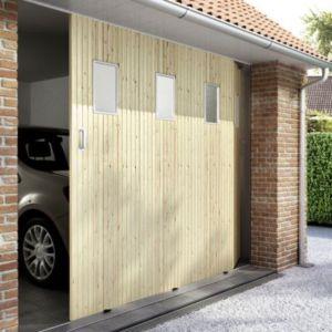 Porte de garage coulissante sapin hublots x for Porte garage automatique castorama