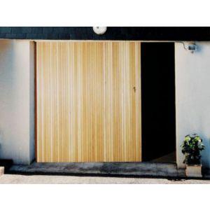Porte de garage coulissante sapin x cm for Porte garage bois coulissante